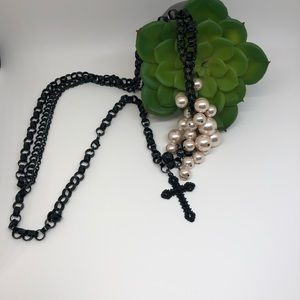 Betsey Johnson Cross and Pearls Necklace